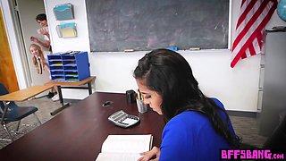 Lesbian teen BFFs fingering their hot tied teacher