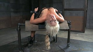 Blonde flexible whore arched and teased with a vertical sybian