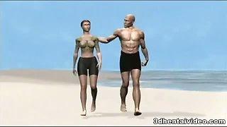 The hot naked couple enjoying hentai hardcore on island