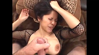 Black-haired horny girl with great tits