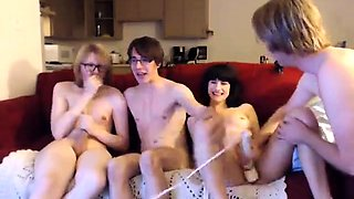 Horny bisexual friends indulge in wild group sex on webcam
