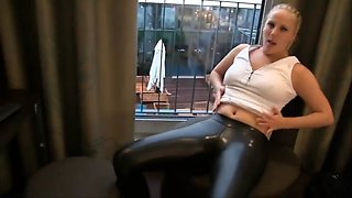 shiny black leggings big ass doggie fucking