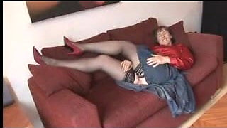 Mature in Stockings Hairy Display