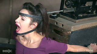 Kinky dude fucks face of tied up to the table whore Eden Sin