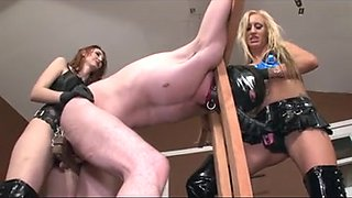 Sissy serf fucked by two smoking hot babes