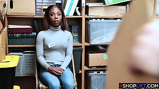 Busty black teen punished for stealing money by security