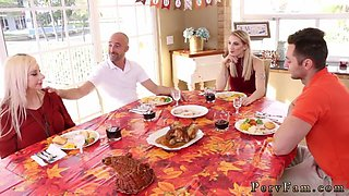 Step dad mom and chum friends daughter first time Spanksgiving With The Family