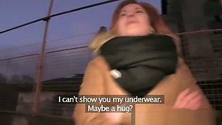 Ginger women fucks a stranger in his car for cash