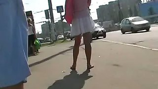 Hot upskirt voyeured at the bus stop