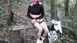 Crossdresser pink hair woodland dildo fun
