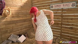 Awesome red haired English nympho Roxi Keogh flashes her white panties