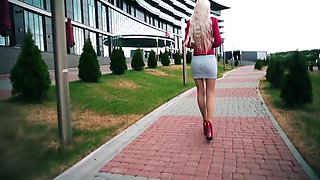 HOT russian college girl walking in short skirt, red heels and nylon