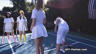 Foursome with kinky teens at the tennis court