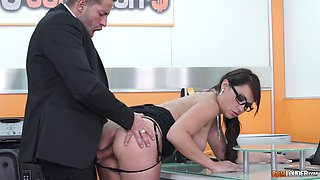 Naughty secretary Sara May swallows her bosses cum after a doggy style
