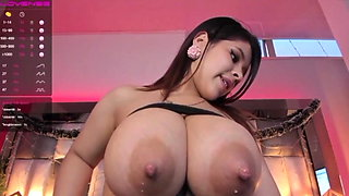 Sexy babe and her big milk boobies