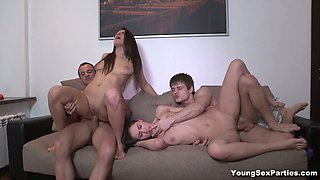 Exciting foursome video featuring two sweet babes