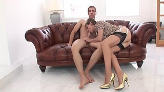 British lady and junior guy fun on sofa