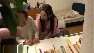 Japanese teacher seducing student at home