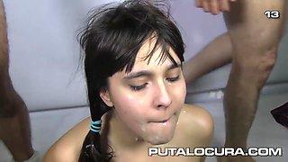 Spanish Teen 21 Cumloads In Bukkake Blowbang With Nikki Litte