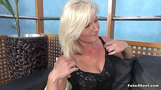 Hot blonde cougar with amazing body sucks cock