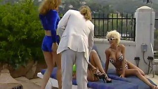 Red head brunette and blonde have crazy sex fun by the pool side