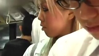 Japanese Girls Reverse Grope Nerdy Guy on Bus CFNM Femdom Chikan FFFM