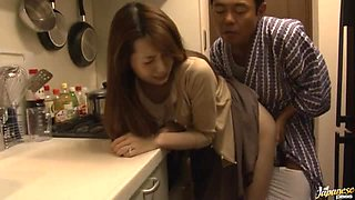 Yui Hatano the stunning Japanese babe gets fucked in the kitchen