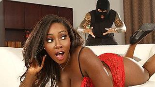 Ebony GF fucks the hung intruder