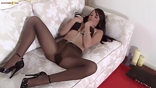 The best brit babe sc dirty talk pantyhose dildo
