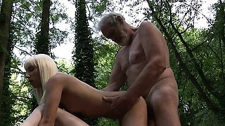 Woodcutter big old cock fucks young girls in the woods