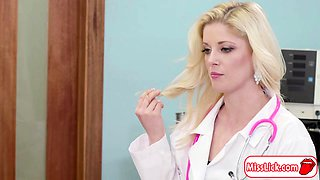 Busty doctor Charlotte licks patient Whitneys pussy