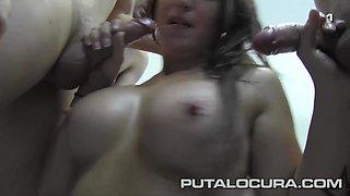 PUTA LOCURA Spanish Bukkake with Busty Irene