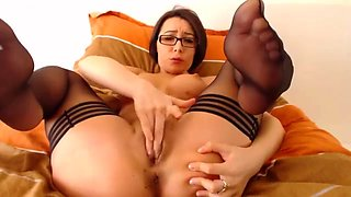 Brunette college babe dances on stripping pole and plays with herself
