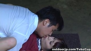 Horny, sensual and filthy Asian couple making out and outdoor fucking