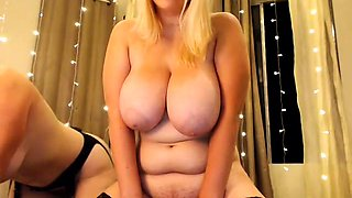 Busty BBW fucks her toys on webcam
