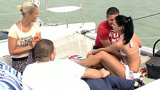 Real party babes on boat play blowjob game