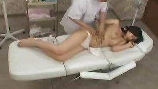 Topless busty Japan schoolgirl has sensual oil massage