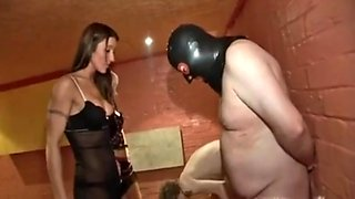Girls feet slave ballbusting