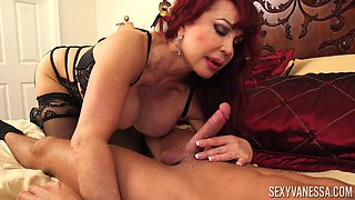 Redhead slut Sexy Vanessa bouncing on a throbbing schlong hard