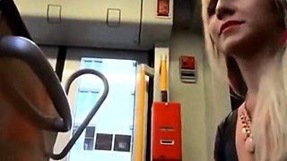confident girlfriend gives nervous boyfriend blowjob on bus