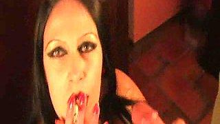 Hot Busty Latex Smoking Babe
