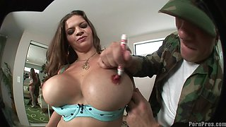 Brunette with massive hooters shagged by the hung bald man