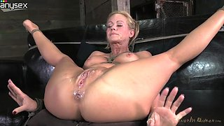 Heavily tied blond MILF with tight boobies gets gets cum load