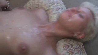 Amateur blonde girlfriend gangbang with bukkake