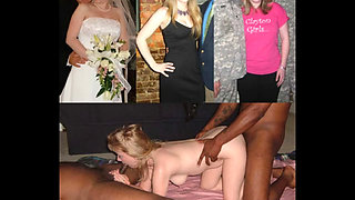 bride wedding dress before during after fucked facial cumshot cuckold compilation