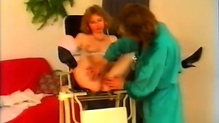 Classic lean blondie spreads her legs on the chair