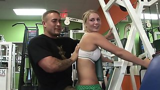 Hot gym girl sucks the trainer's pole after a workout