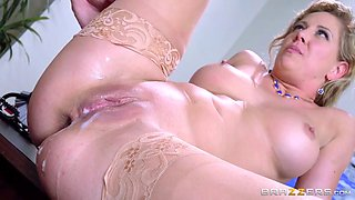 Slutty blonde MILF fucks her boss in the office
