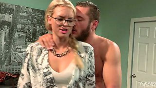 Sexy four eyed blonde swallows stiff dick of kinky Danny Mountain