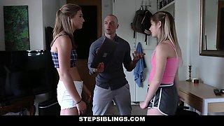 StepSiblings - Horny Stepbro Fucks Sisters April And Vienna